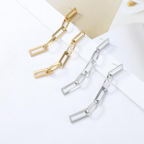 boucles d'oreilles simples en acier inoxydable à longue chaîne NHYUN372937's discount tags