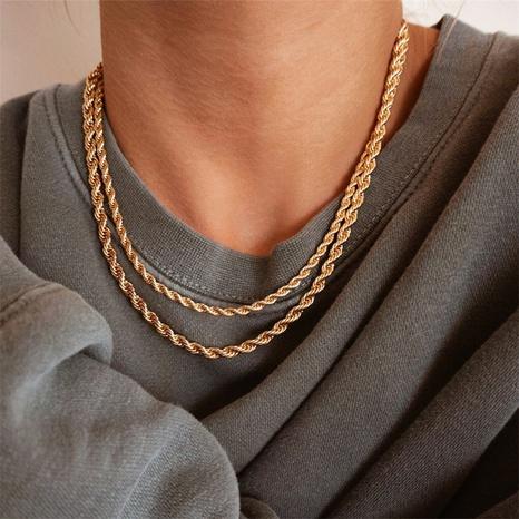 nouveau collier en acier inoxydable plaqué or 14 carats à chaîne torsadée à la mode NHTF372952's discount tags