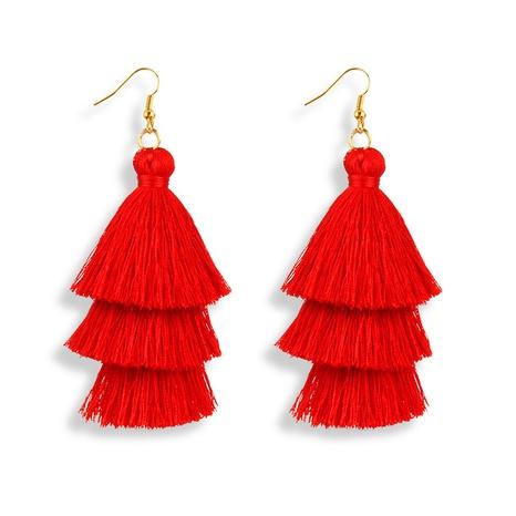 bohemian fashion simple three-layer tassel earrings  NHAYN372954's discount tags