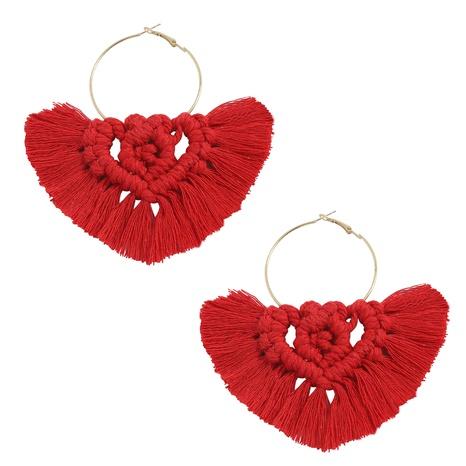ethnic style mesh fabric fan-shape tassel earrings NHJQ372972's discount tags