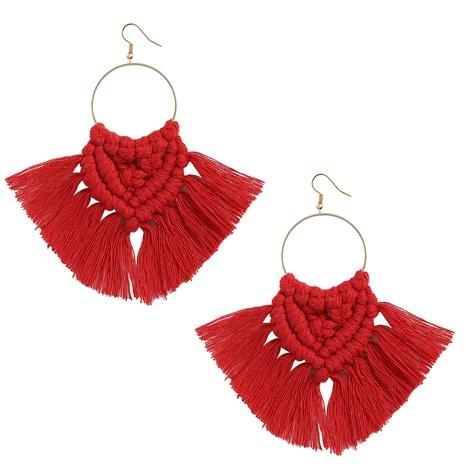 Bohemian ethnic style handmade braided tassel color earrings  NHJQ372975's discount tags