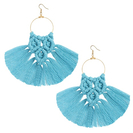 Bohemian Ethnic Handmade Fabric Tassel Multicolor Earrings NHJQ372974's discount tags