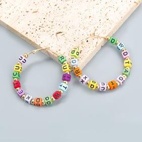 Fashion color cube resin letter earrings wholesale NHJE372980