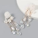 retro fashion flower imitation pearl earrings  NHJE372992