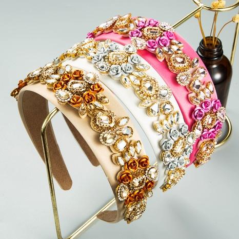 diadema de diamantes de imitación de flores de aleación creativa de ala ancha de moda NHLN373004's discount tags