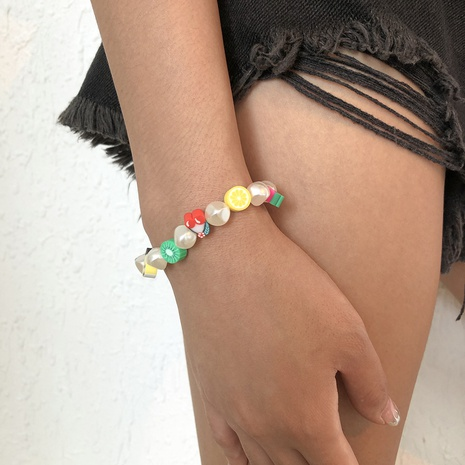Bohemia Style Soft Pottery Fruit Imitation Pearl Bracelet NHMD373027's discount tags