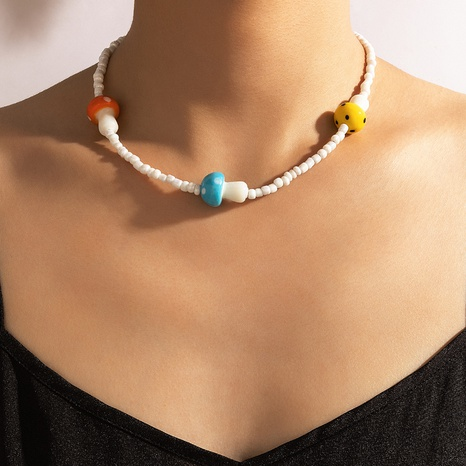 Nihaojewelry fashion color mushroom head rice bead necklace Wholesale jewelry NHGY374454's discount tags