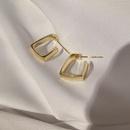 Simple square geometric metal earrings   NHGQ373055
