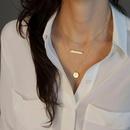 Simple geometric sequin pendant multilayer necklace NHGQ373058