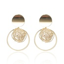 Korean geometric hollow thread ball pearl pendant earrings  NHGQ373060