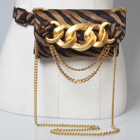 moda estampado de leopardo bolso de cintura grande cinturón de cadena gruesa NHJSR373518's discount tags