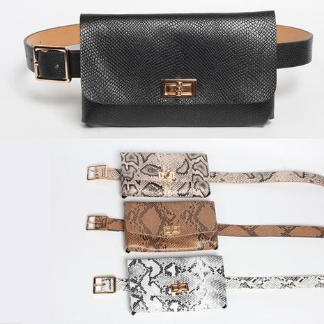 bolso de cintura con hebilla giratoria con patrón de serpiente de estilo simple cinturón delgado NHJSR373530's discount tags