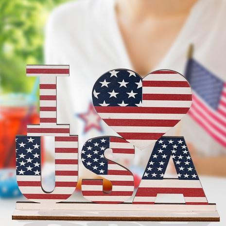 Bureau de décoration de lettre en bois de la fête nationale de l'indépendance américaine de la mode NHHB373594's discount tags