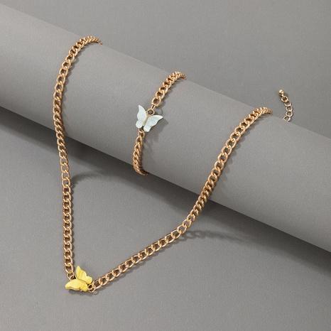 Nihaojewelry Schmuck Großhandel Farbe Schmetterling Halskette Armband Set NHGY374321's discount tags