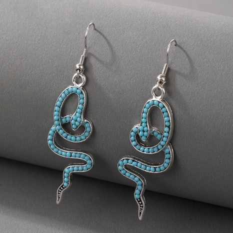 Nihaojewelry Jewelry Wholesale Snake Shape Inlaid Beads Earrings NHGY374304's discount tags