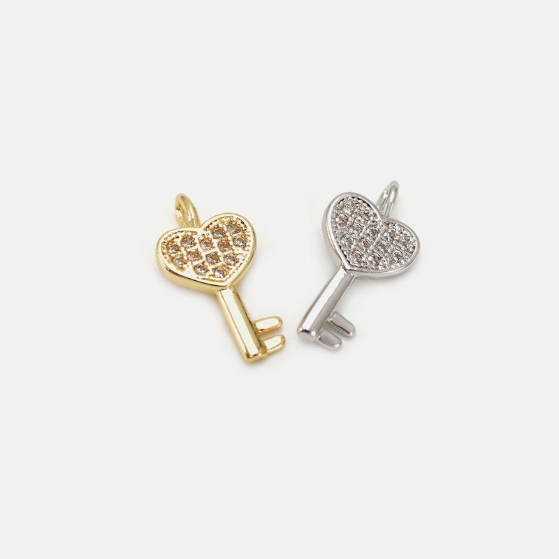 fashion heartshaped key copper inlaid zircon earrings wholesale  NHWV373087