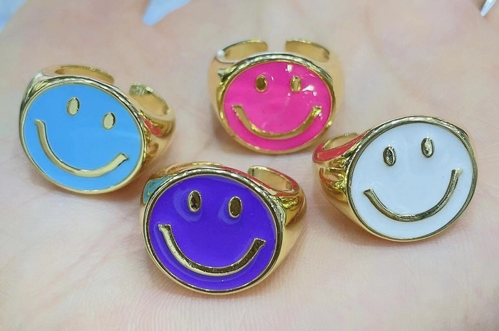 Retro smile copper dripping ring wholesale NHWG373158's discount tags