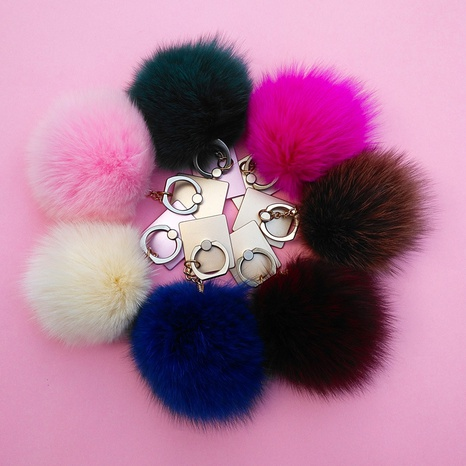 cute fox fur ball pendant mobile phone holder ring buckle wholesale NHAP373368's discount tags