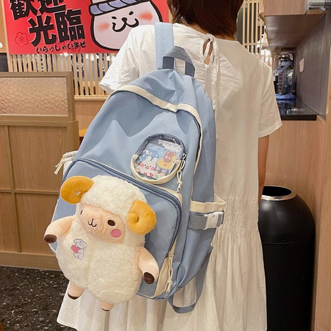 Korean sheep pendant large capacity backpack wholesale NHLH373773's discount tags