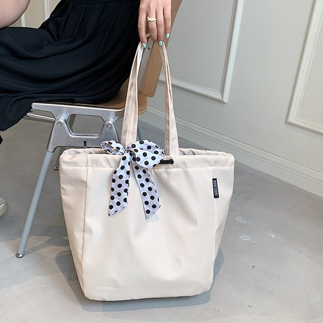 fashion silk scarf bow large-capacity shoulder canvas tote bag wholesale NHJZ373852's discount tags