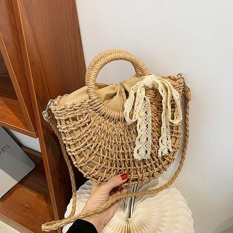 fashion lace bow shoulder messenger straw basket bag wholesale NHJZ373876's discount tags