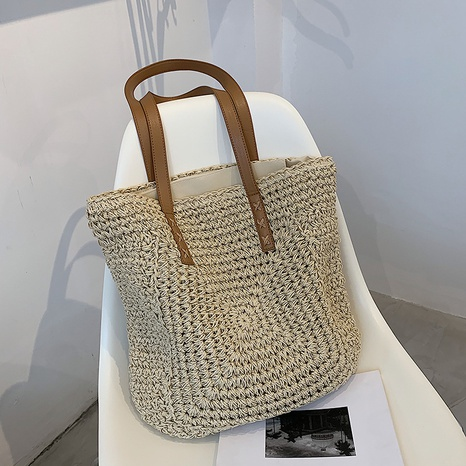 fashion casual large capacity shoulder straw bag wholesale NHJZ373897's discount tags