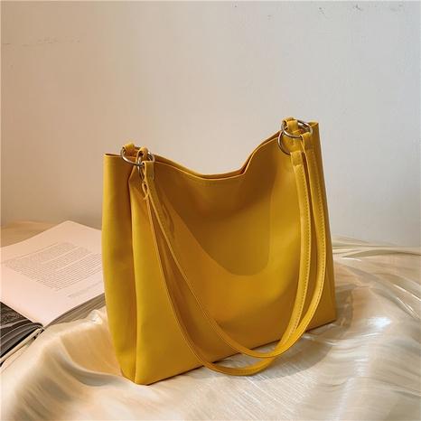 Korean style simple solid color shoulder tote bag wholesale NHRU373904's discount tags
