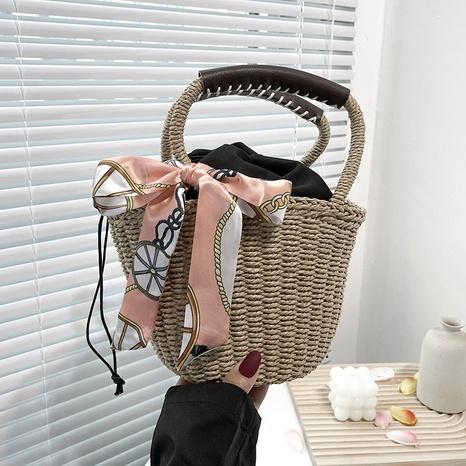 Korean with silk scarf portable shoulder diagonal woven bag wholesale NHRU373905's discount tags