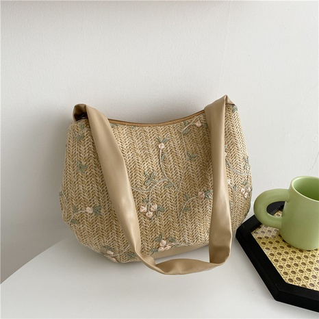 Korean casual flower pattern large-capacity shoulder straw woven tote bag wholesale NHRU373910's discount tags