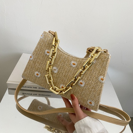 fashion casual flower pattern messenger straw woven small bag wholesale NHRU373911's discount tags