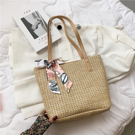 fashion bows large-capacity shoulder straw woven bag wholesale NHRU373914's discount tags