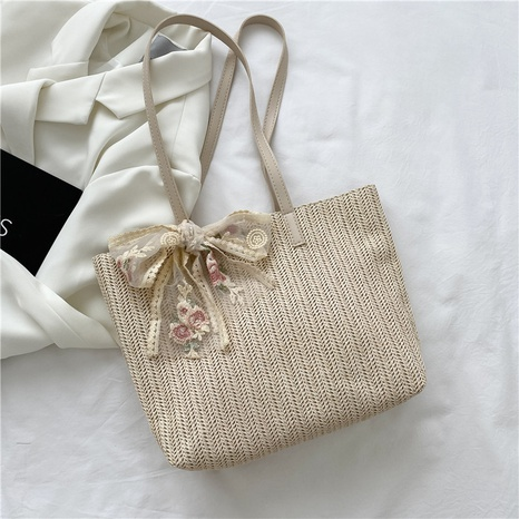 fashion lace bow large-capacity shoulder messenger woven tote bag wholesale NHRU373915's discount tags