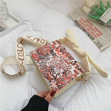 Korean fashion casual graffiti shoulder small square bag wholesale NHRU373918's discount tags