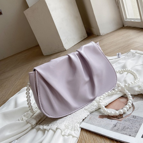 Korean fashion solid color fold cloud shoulder bag wholesale NHRU373919's discount tags