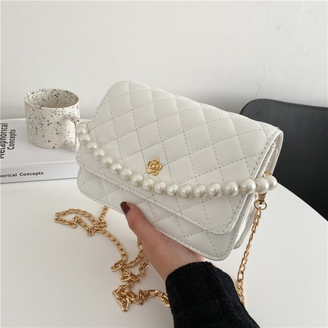 Korean large capacity pearl chain messenger small square bag wholesale NHRU373920's discount tags