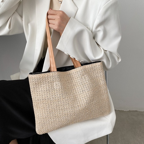 nihaojewelry simple large capacity idyllic style shoulder straw woven bag wholesale  NHXC374065's discount tags