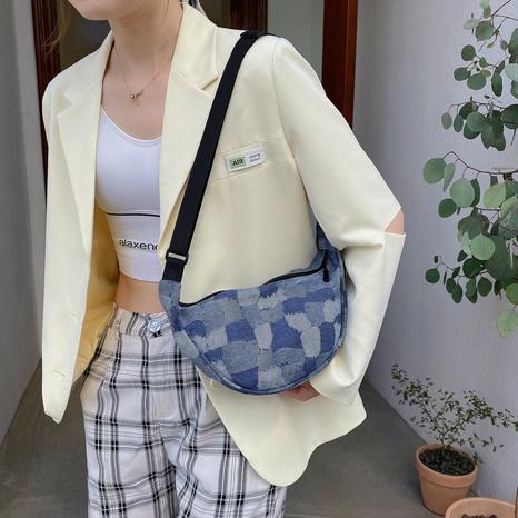 Nihaojewelry plaid denim shoulder canvas dumpling bag Wholesale NHXC374070's discount tags