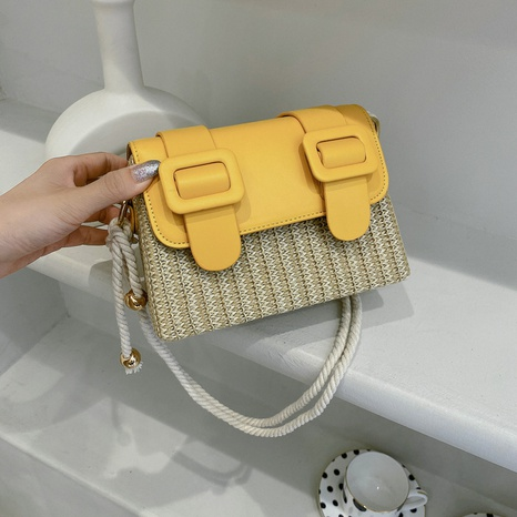 Korean style fashion messenger straw stitching small square bag wholesale NHJZ374211's discount tags