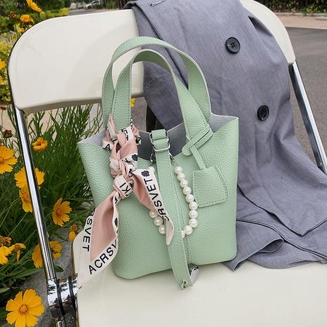 Korean fashion silk scarf bow pearl chain messenger bucket bag wholesale NHJZ374218's discount tags