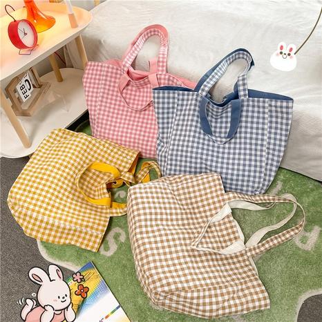 fashion plaid double-sided large-capacity shoulder canvas bag wholesale NHJZ374219's discount tags