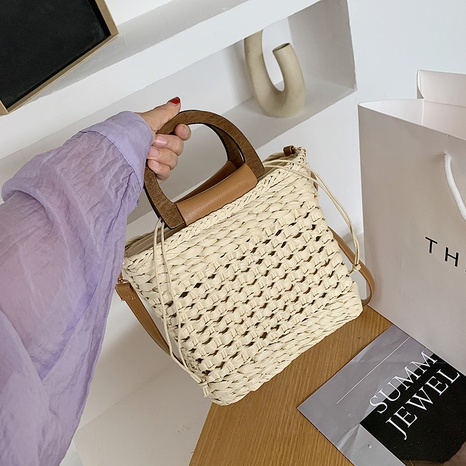retro hollow straw woven shoulder diagonal small square bag wholesale NHJZ374222's discount tags