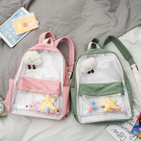 Korean cloud toy pendant large-capacity transparent backpack wholesale NHJZ374226's discount tags