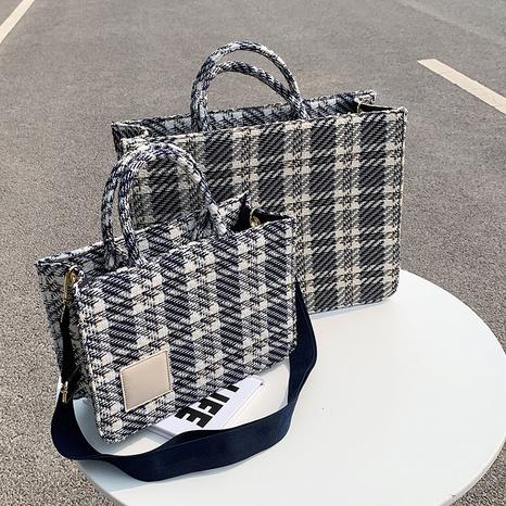 fashion plaid pattern shoulder tote bag wholesale NHJZ374231's discount tags