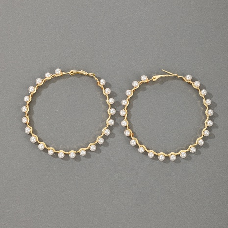 Großhandel Schmuck Mode große Perlenkreis geometrische Ohrringe nihaojewelry NHGY374340's discount tags