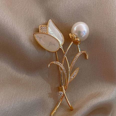 wholesale jewelry pearl flower shape brooch Nihaojewelry NHBOJ374325's discount tags