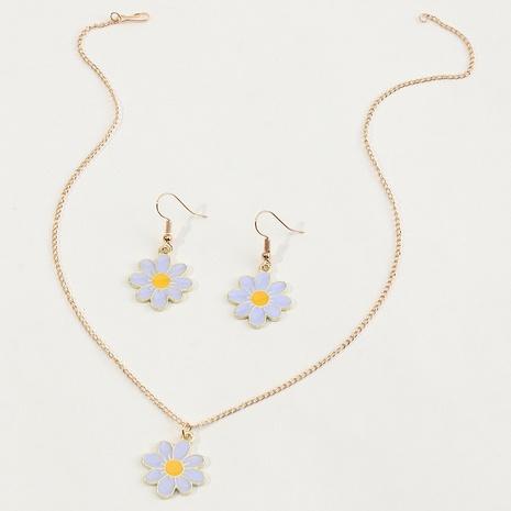 Großhandel Nihaojewelry-Legierungsöl tropft Planetenblumenhalsketten-Ohrring-Set NHNZ374444's discount tags
