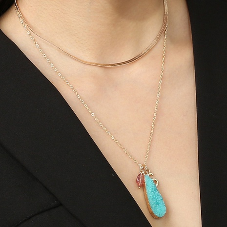 Großhandel Schmuck einfache Einfassung blaue Nachahmung Naturstein Tropfen Anhänger Doppelschicht Halskette nihaojewelry NHAN374484's discount tags