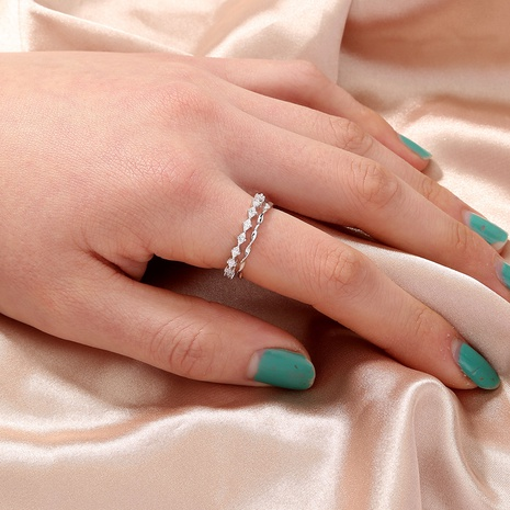 wholesale jewelry wave zircon double copper ring Nihaojewelry NHAN374510's discount tags