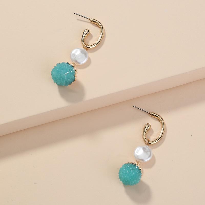 wholesale jewelry pearl candy green cluster pendant earrings Nihaojewelry NHAN374516