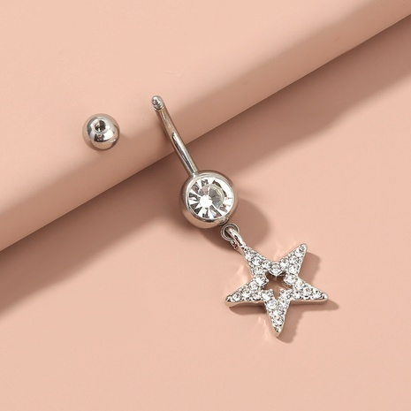 wholesale jewelry stainless steel star diamond belly button nail Nihaojewelry NHAN374533's discount tags